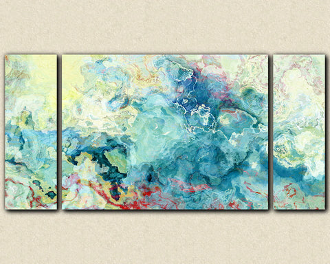 "Oversize triptych abstract art stretched canvas print, 30x60 to 40x78 in aqua, ""Cool as a Cucumber"""
