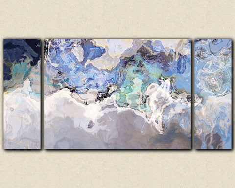 "Oversize modern art canvas print from abstract art painting, 30x60 to 40x78 triptych abstract expressionism in blue tones, ""Out of the Blue"""