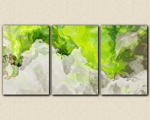 "Triptych abstract giclee canvas print with gallery wrap, 24x48 to 36x72 in chartreuse green and white, ""Lime Light"""