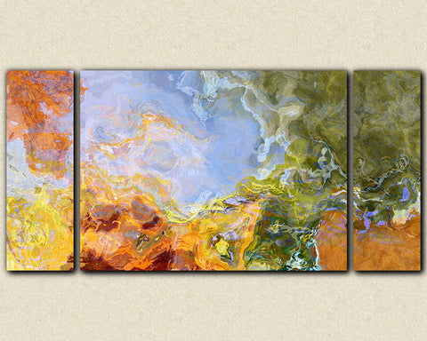 "Large abstract art, 30x60 to 40x78 triptych giclee canvas print, in orange, blue and green, ""Sing To Me The Dream"""