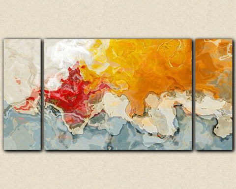 Large abstract wall art stretched canvas print in red and orange