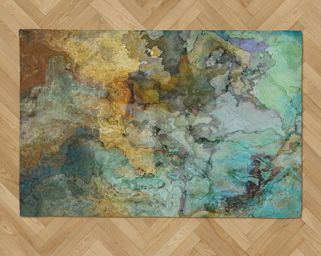 Area Rug with Abstract Art, 2x3 to 5x7, in Blue, Green and Brown