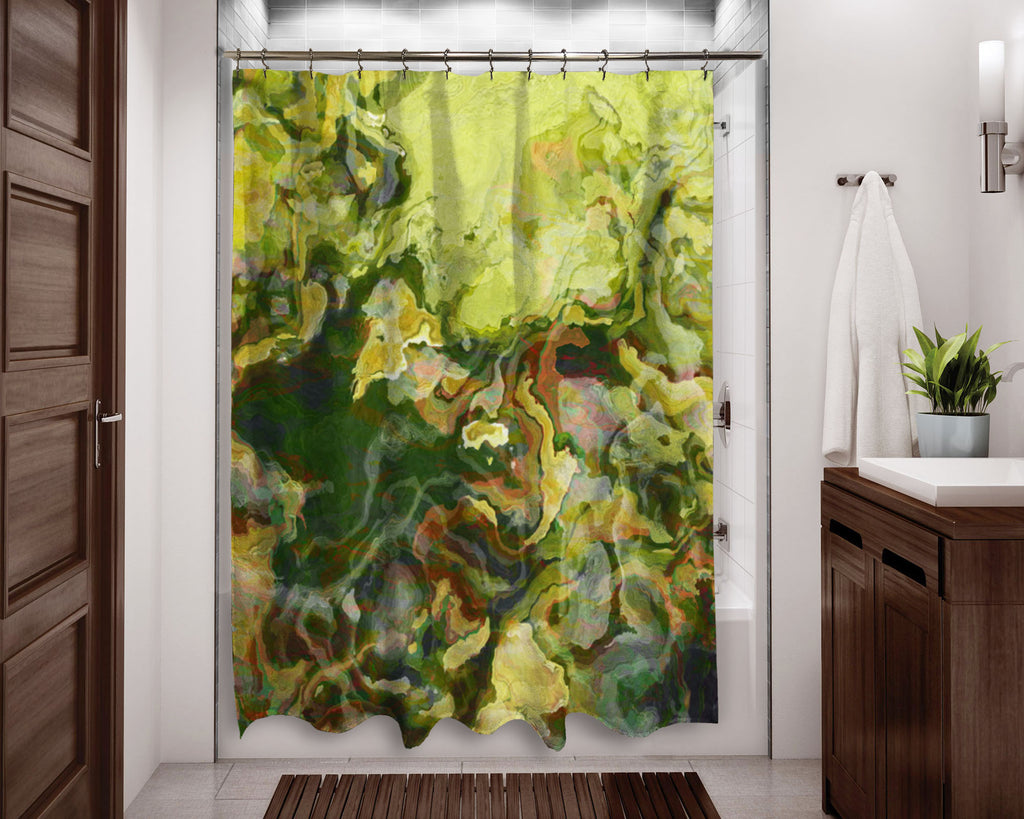 Abstract shower curtain green, yellow-green, contemporary bathroom