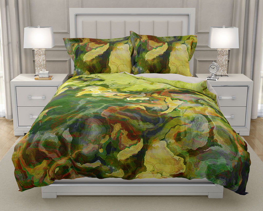 Duvet Cover with abstract art, king or queen in green and yellow-green