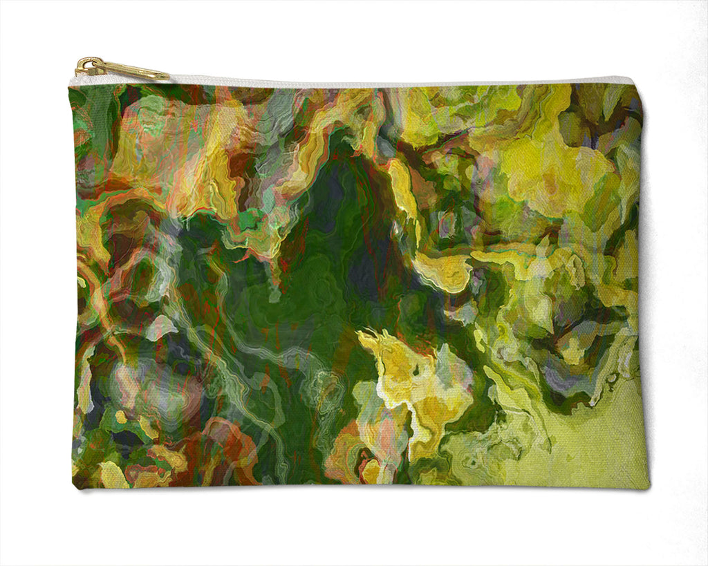 Makeup Bag, Pencil Case, Cosmetic Bag Abstract Art, Green and Yellow