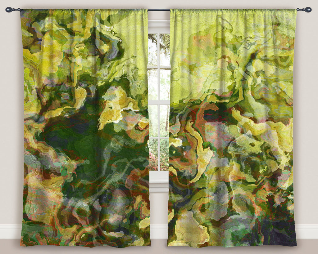 "Abstract art window curtains 50""x84"" panels in green, yellow, and red"