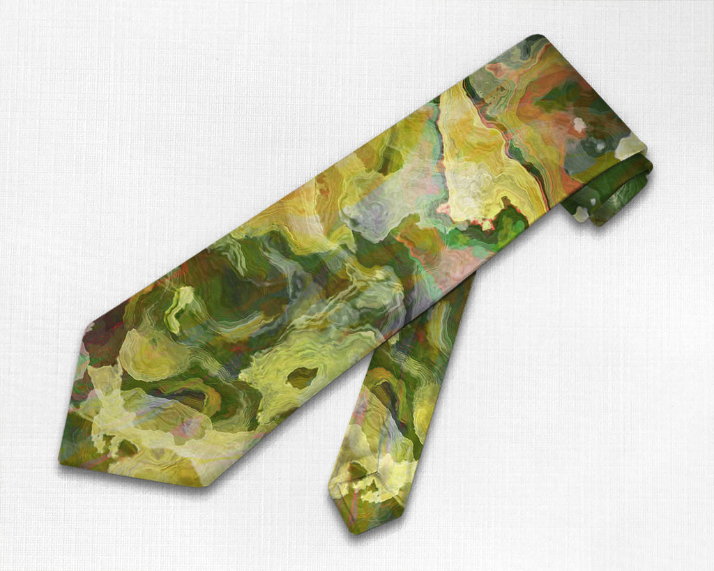 Abstract art men's tie in green, yellow-green, and red