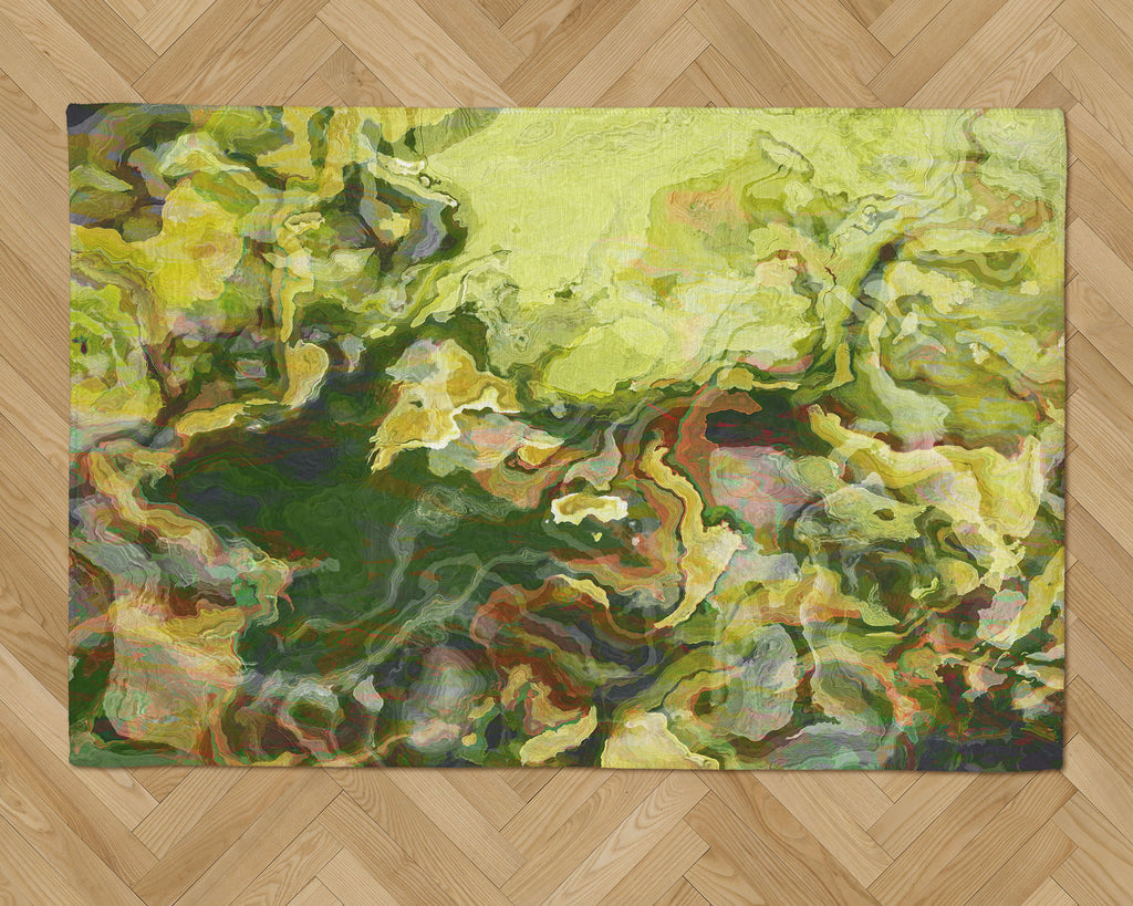 Area Rug with Abstract Art, 2x3 to 5x7, in green, yellow-green and red