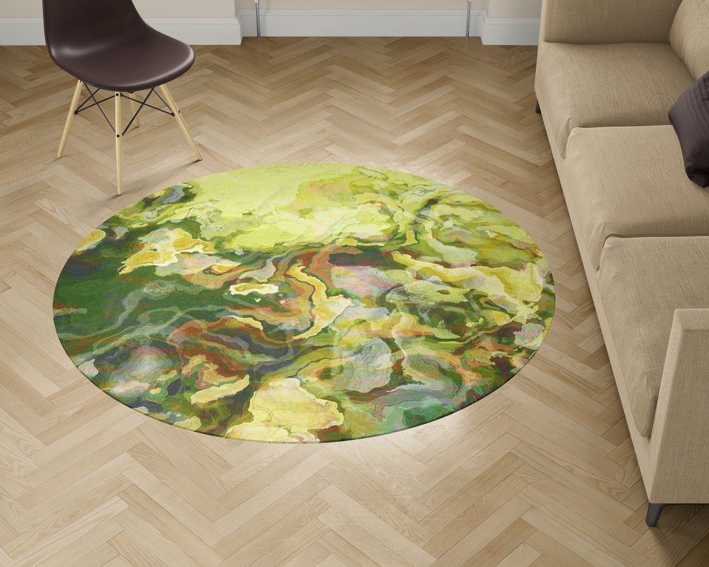 Area Rug with Abstract Art, 5ft Round, in green, yellow-green and red