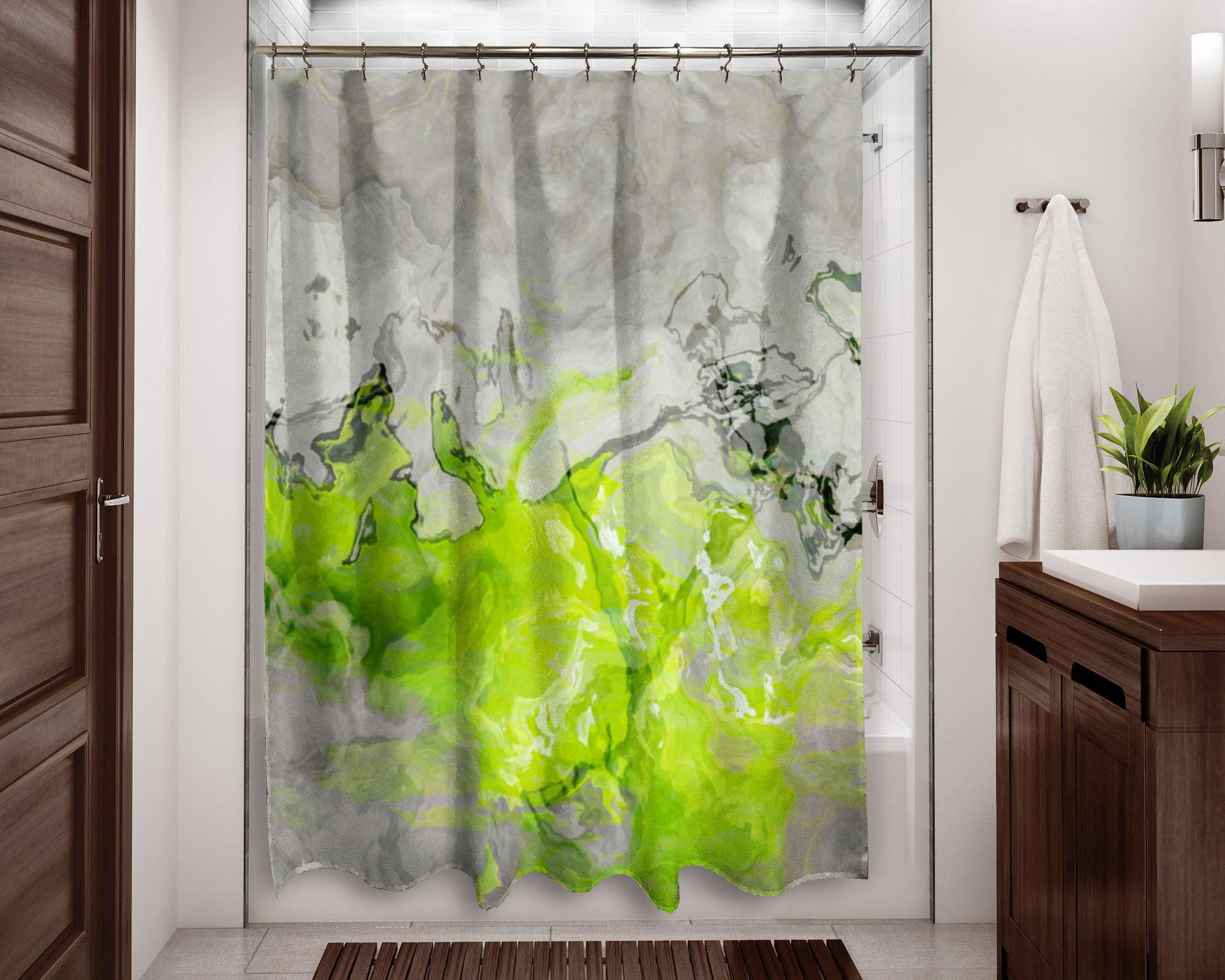 Contemporary shower curtain Lime Green, Yellow Green, Warm Gray ...