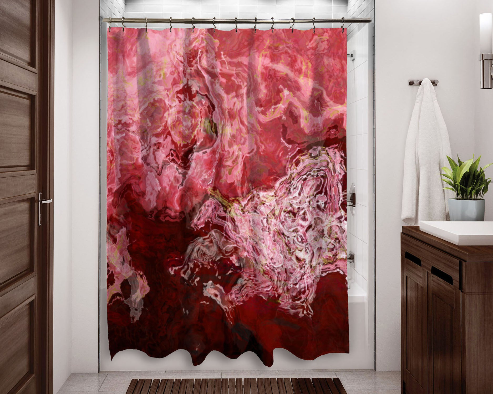 Abstract art shower curtain, Pink, Coral, Dark Red, Green, White ...