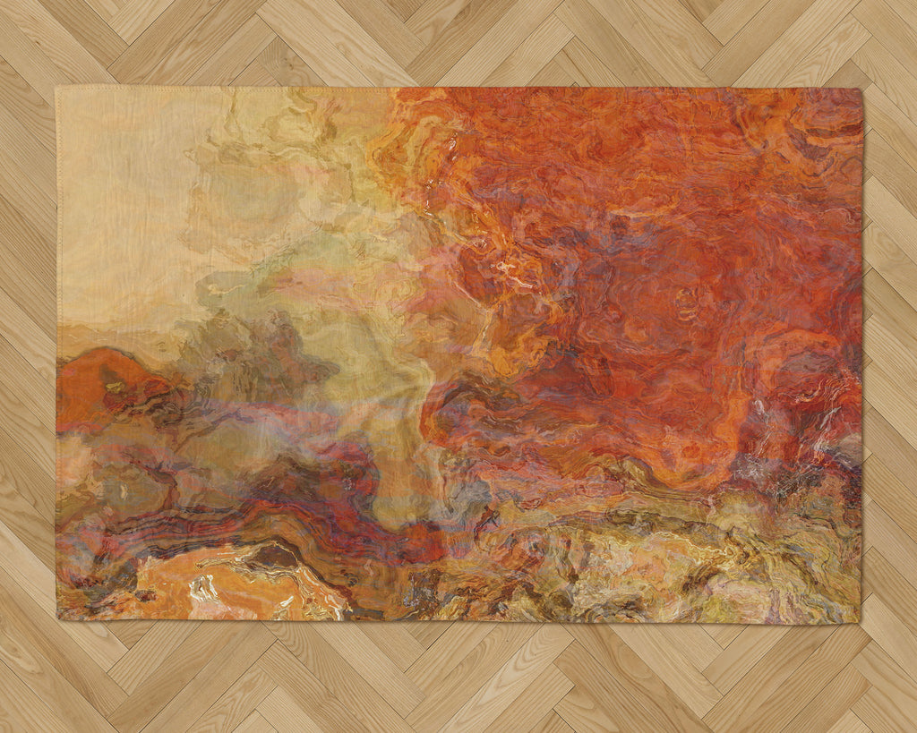 Area Rug with Abstract Art, 2x3 to 5x7, in Red Orange, Gold, Brown