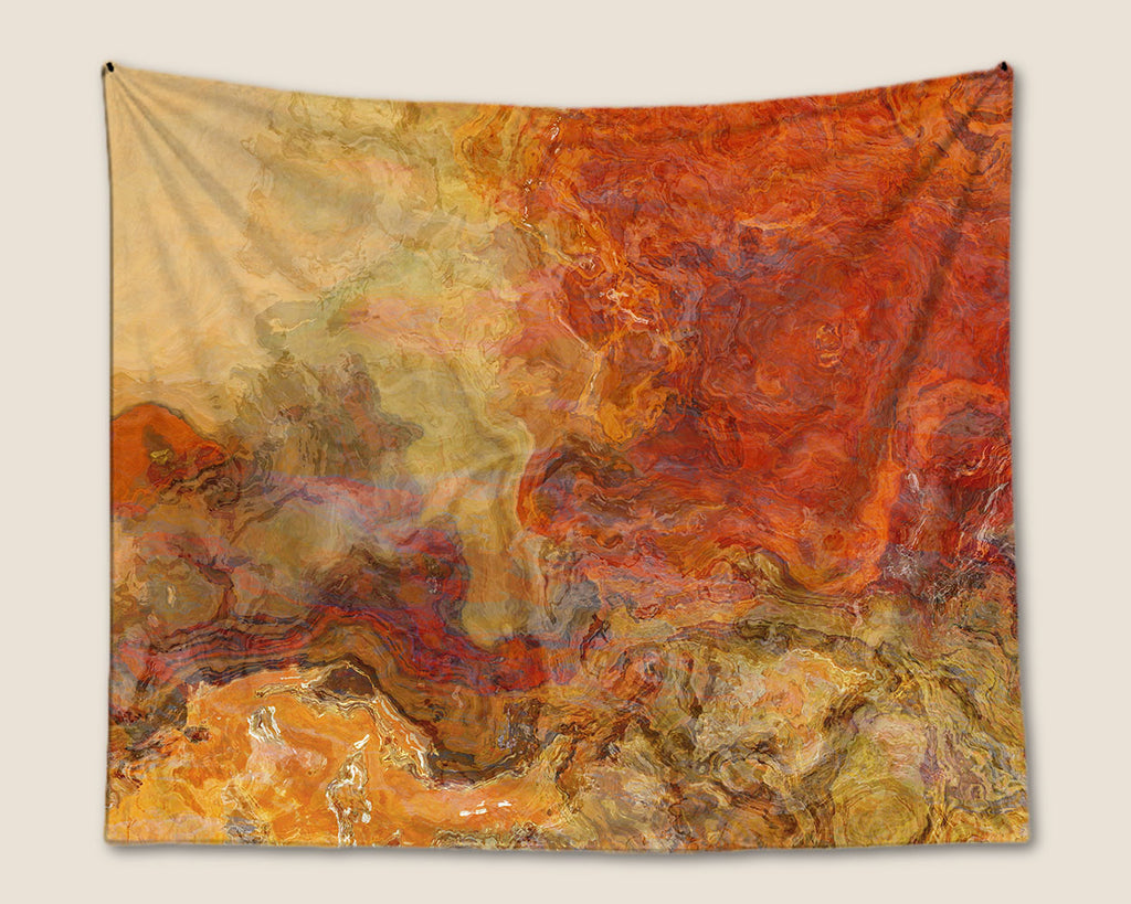 Abstract Art Tapestry, Red-Orange, Gold, Tan, Brown