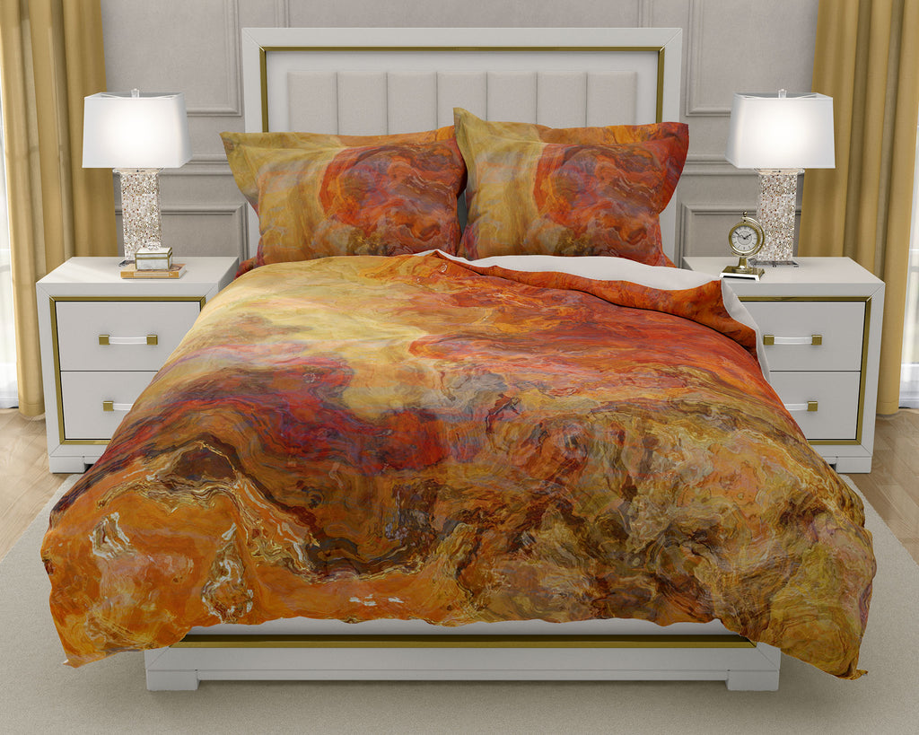 Duvet Cover with abstract art, king or queen in red orange, gold, brown and tan