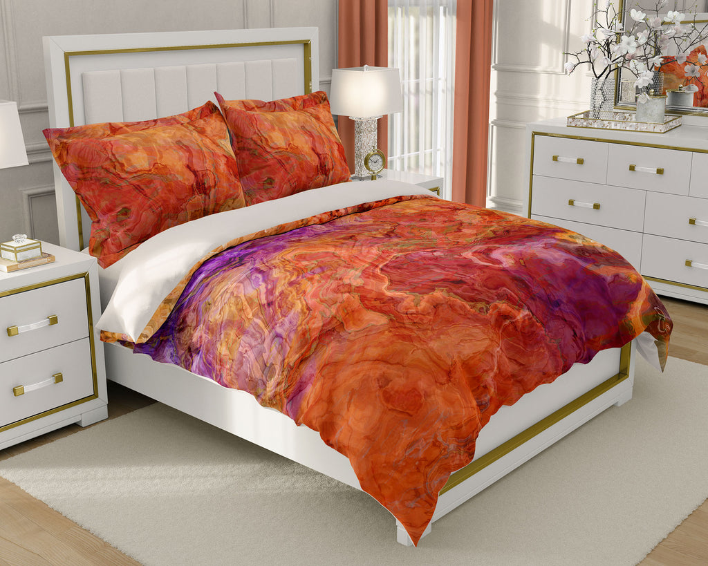 Duvet Cover with abstract art, king or queen, red orange olive purple
