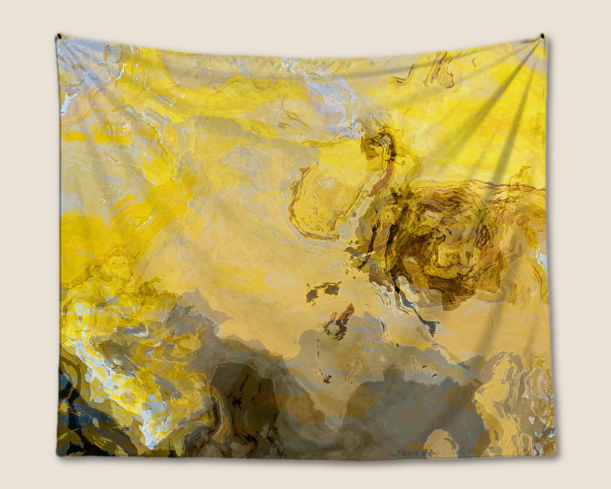 Abstract Art Tapestry,contemporary wall hanging in yellow and gray ...