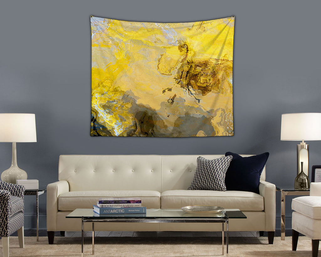 Abstract Art Tapestry,contemporary wall hanging in yellow and gray