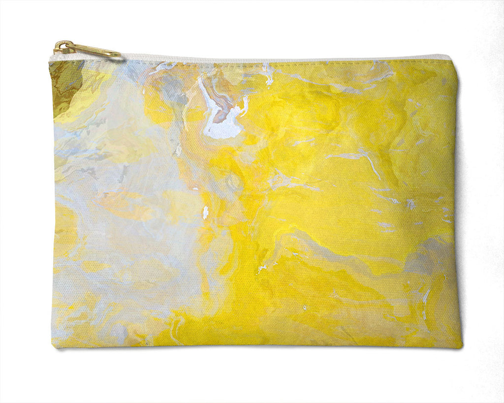 Makeup bag, pencil case, Cosmetic bag with abstract art, in yellow and gray, Mellow Yellow