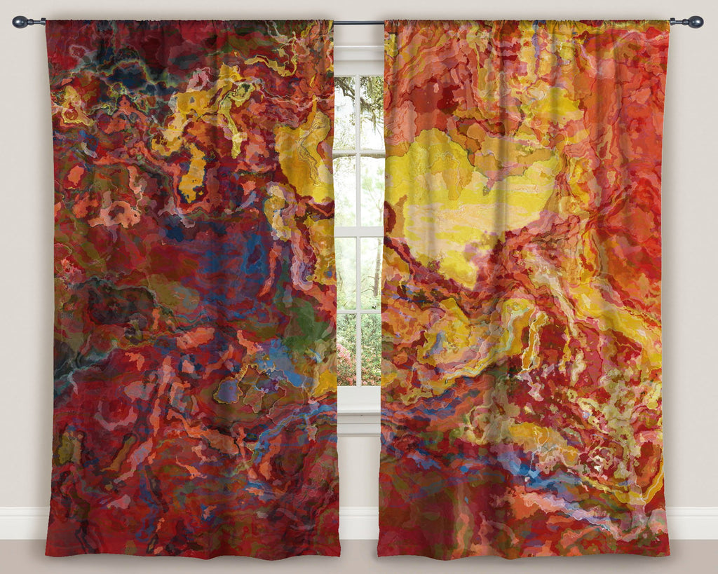 "Abstract art window curtains 50""x84"" panels in red, yellow and blue"