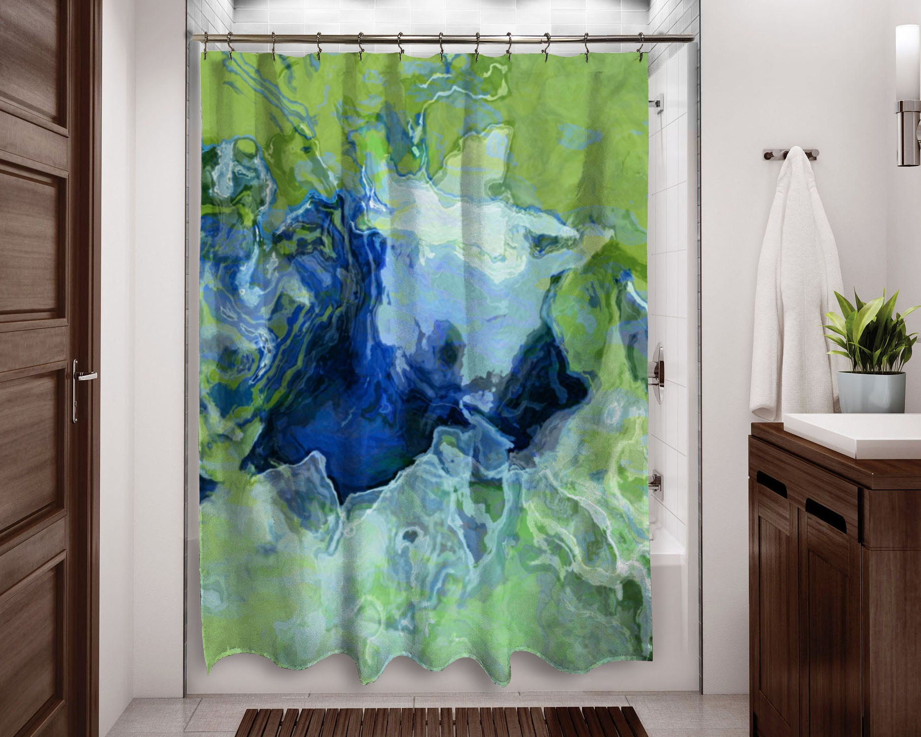 Abstract Art Shower Curtain Green Blue Yellow Home
