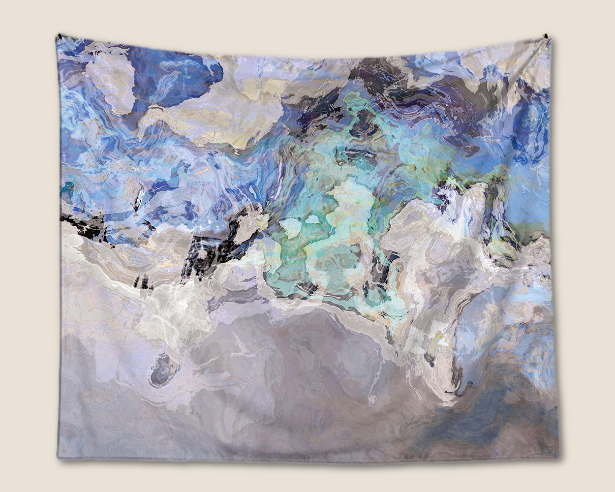Abstract Art Wall Hanging Large Tapestry In Blue And Gray