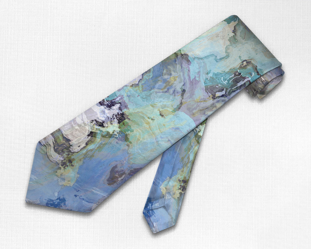Abstract art men's tie in blue and gray