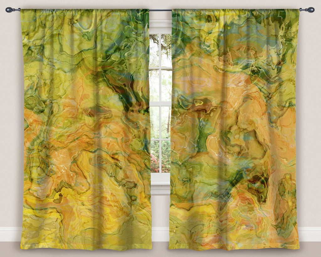 "Abstract art window curtains 50""x84"" panels in green, peach, yellow"