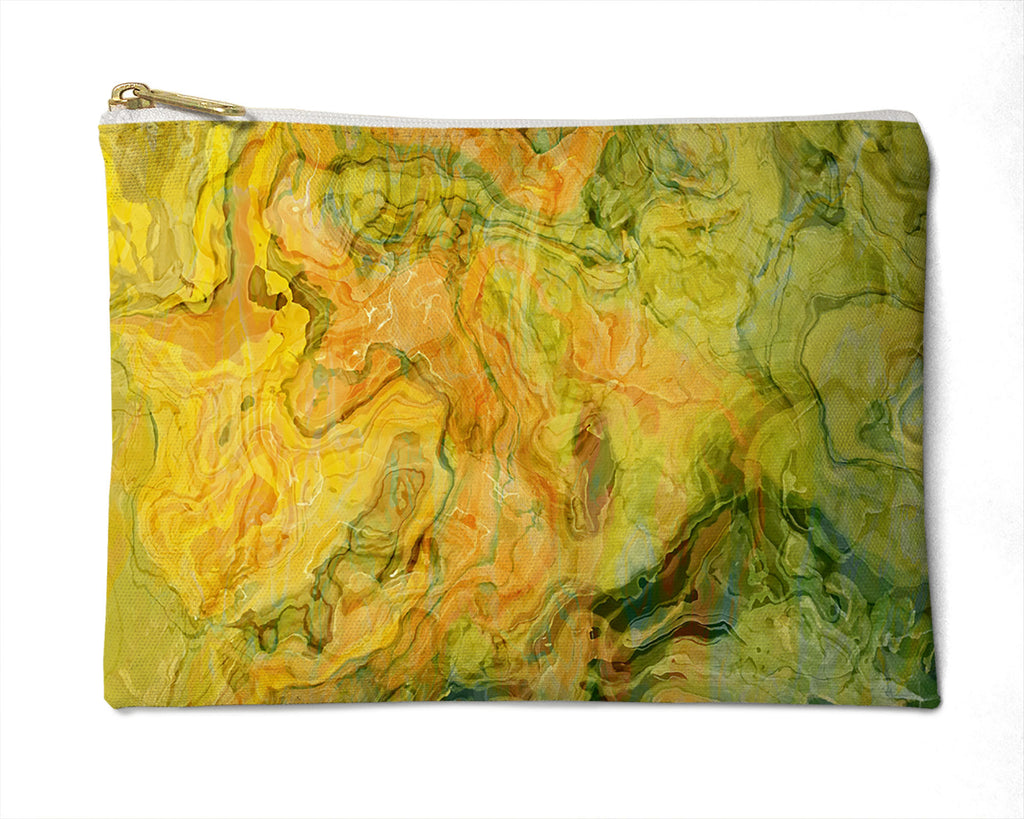 Makeup Bag, Pencil Case, Cosmetic Bag Abstract Art, green, peach