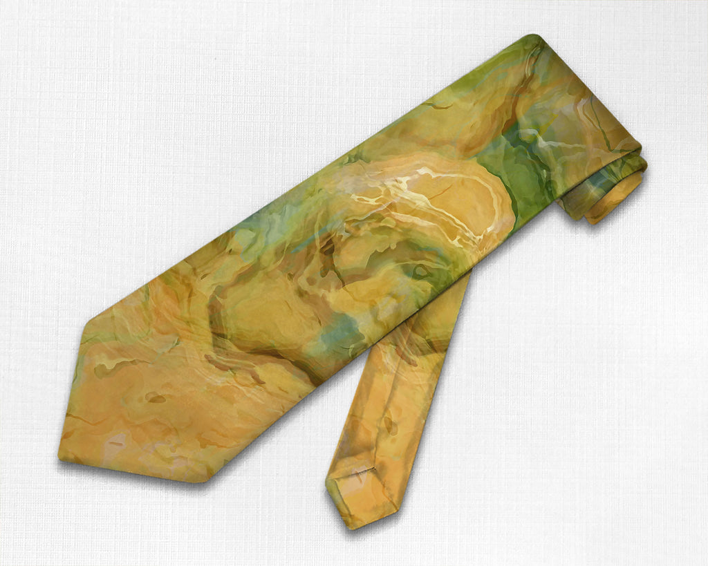 Abstract art men's tie in green, orange, yellow