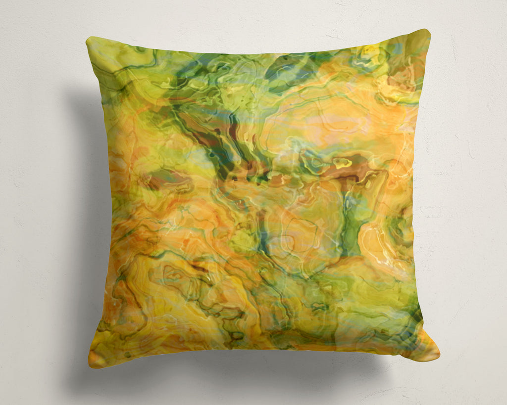 Abstract art pillow covers, 16x16 and 18x18 inches, green, peach