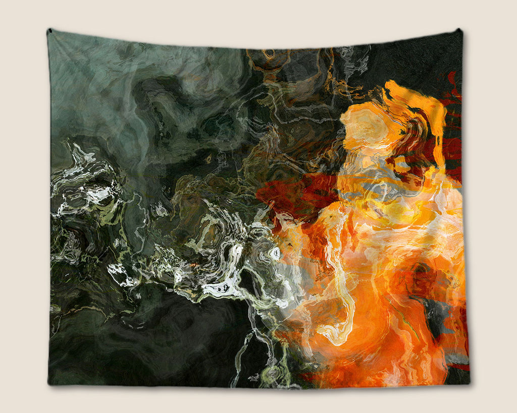 Abstract Art Tapestry wall hanging in orange and dark neutral tones
