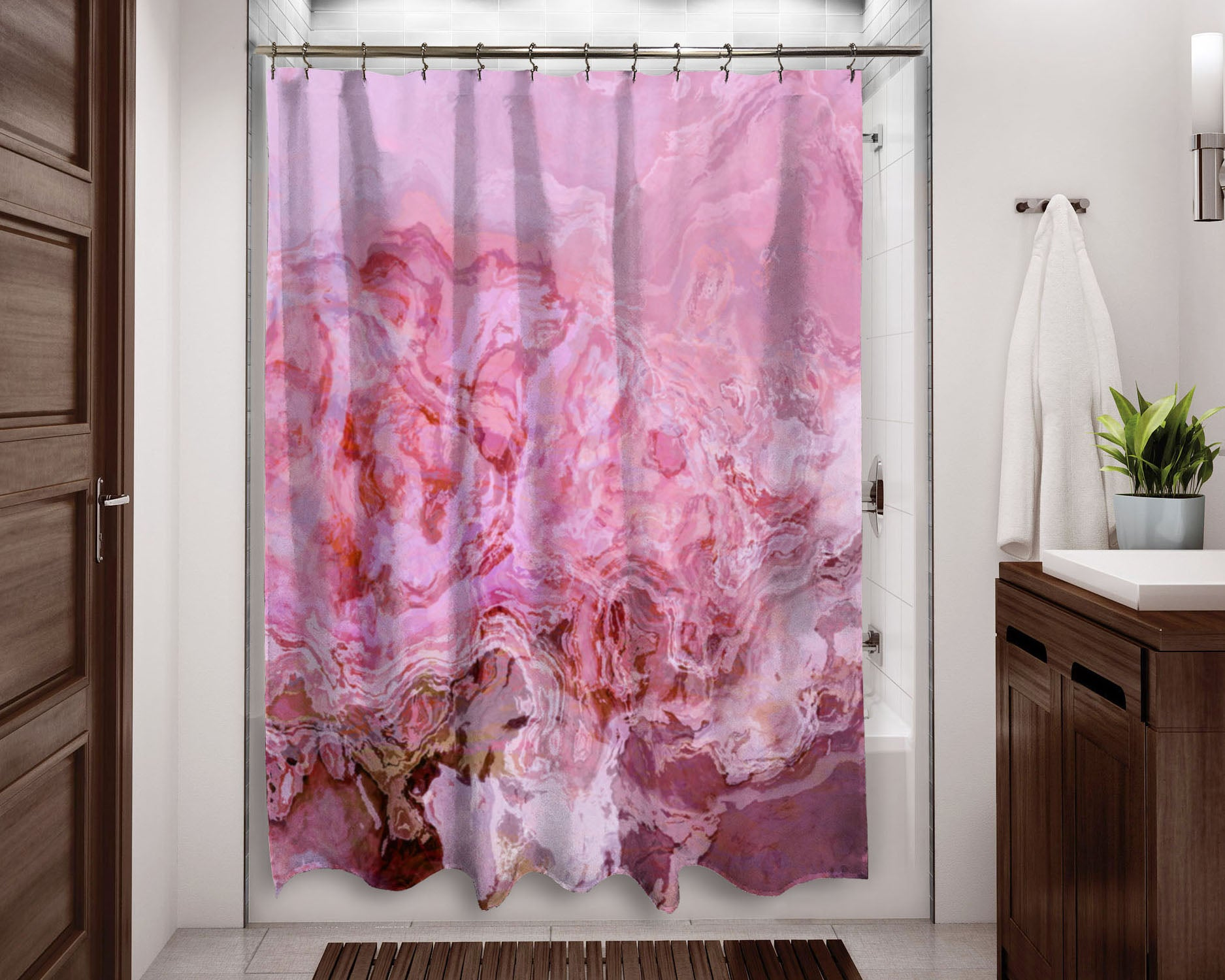 Abstract Art Shower Curtain Pink Crimson Lavender Mauve White Home