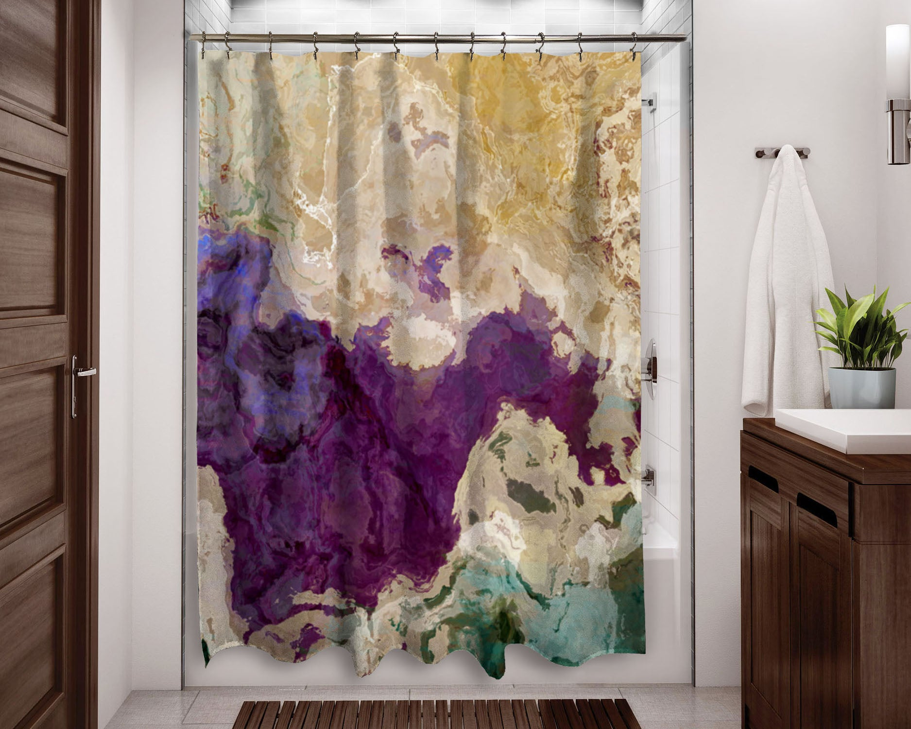 Abstract Shower Curtain Purple Cream And Green Art Home