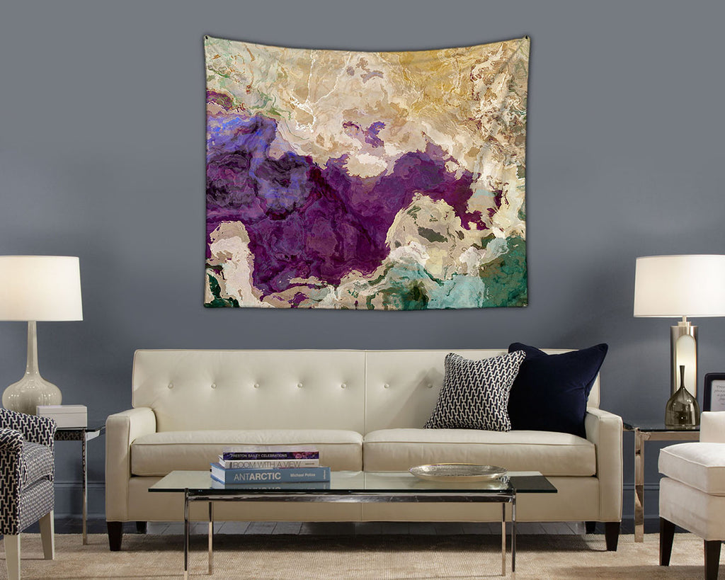 Abstract Art Tapestry, modern wall hanging in purple, cream and green