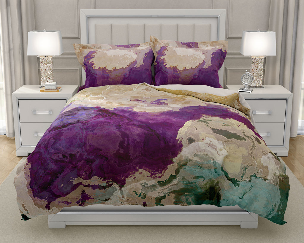 Duvet Cover with abstract art king or queen in purple, cream and green