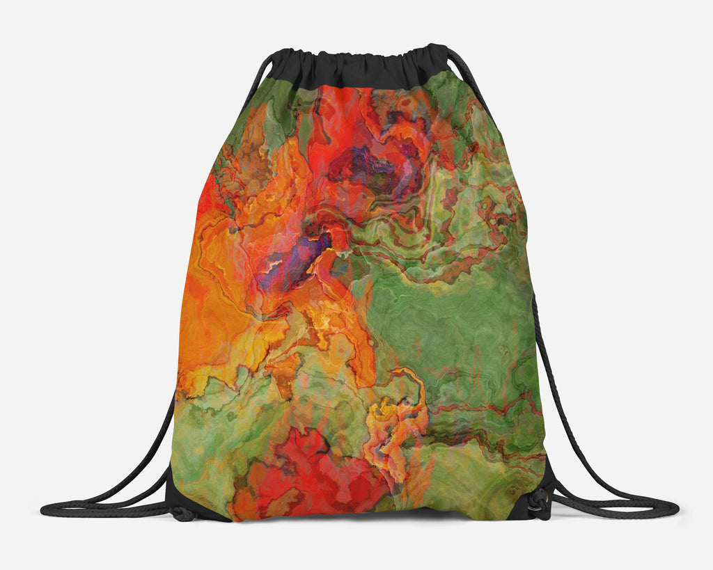 Drawstring Gym Bag, Abstract Art Lined Cinch Sack, Backpack School Bag