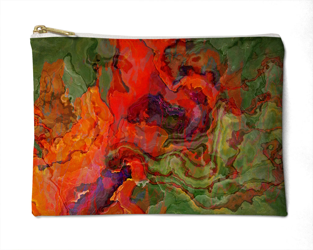 Makeup Bag, Pencil Case, Cosmetic Bag Abstract Art, orange, red, green
