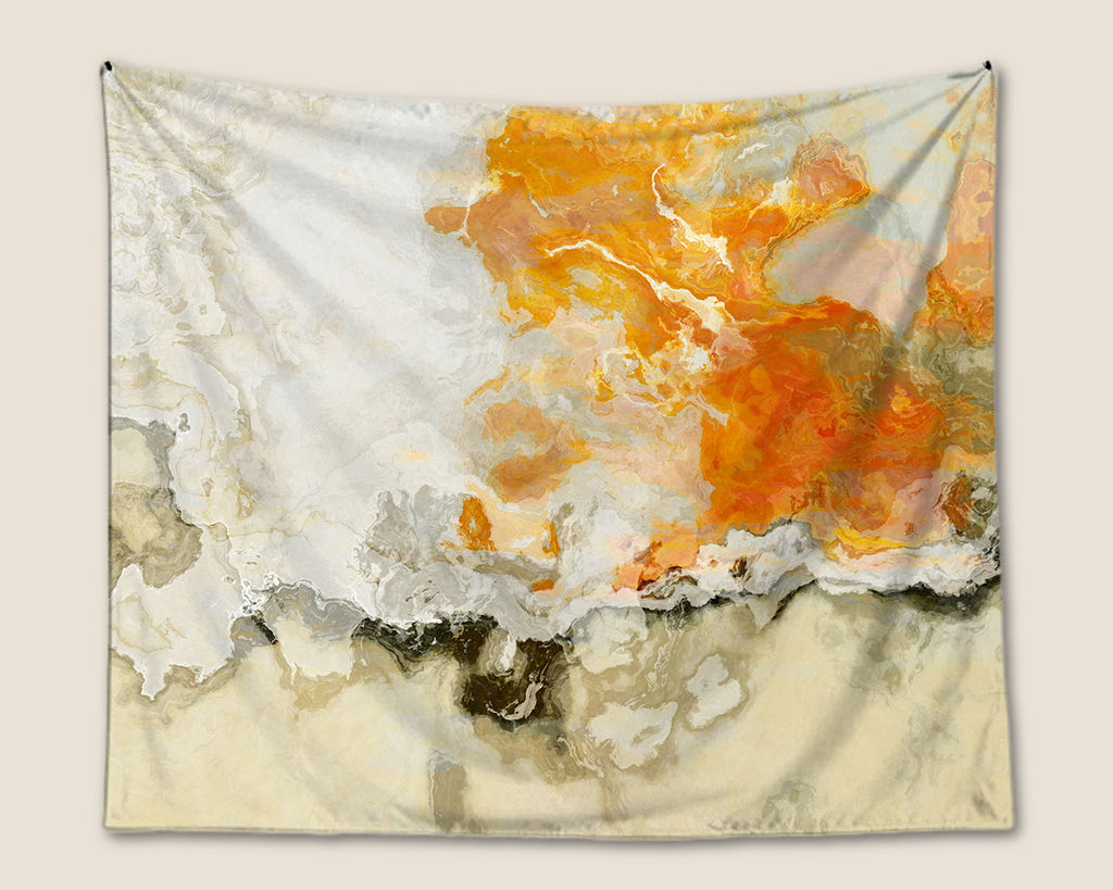 Abstract Art Tapestry, modern wall hanging in cream and orange