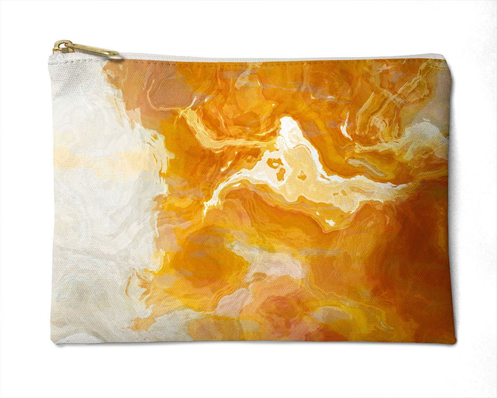 Makeup bag, pencil case, Cosmetic bag with abstract art, in orange and cream, Rhymes with Orange