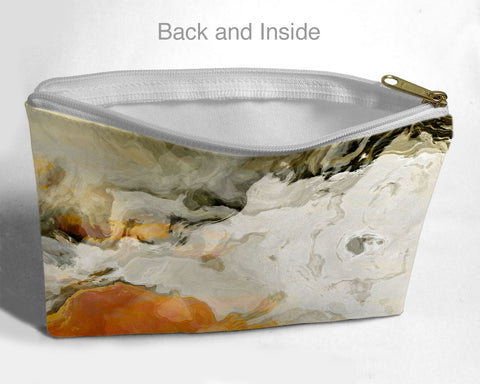 Cosmetic bag with abstract art, in orange and cream, Rhymes with Orange