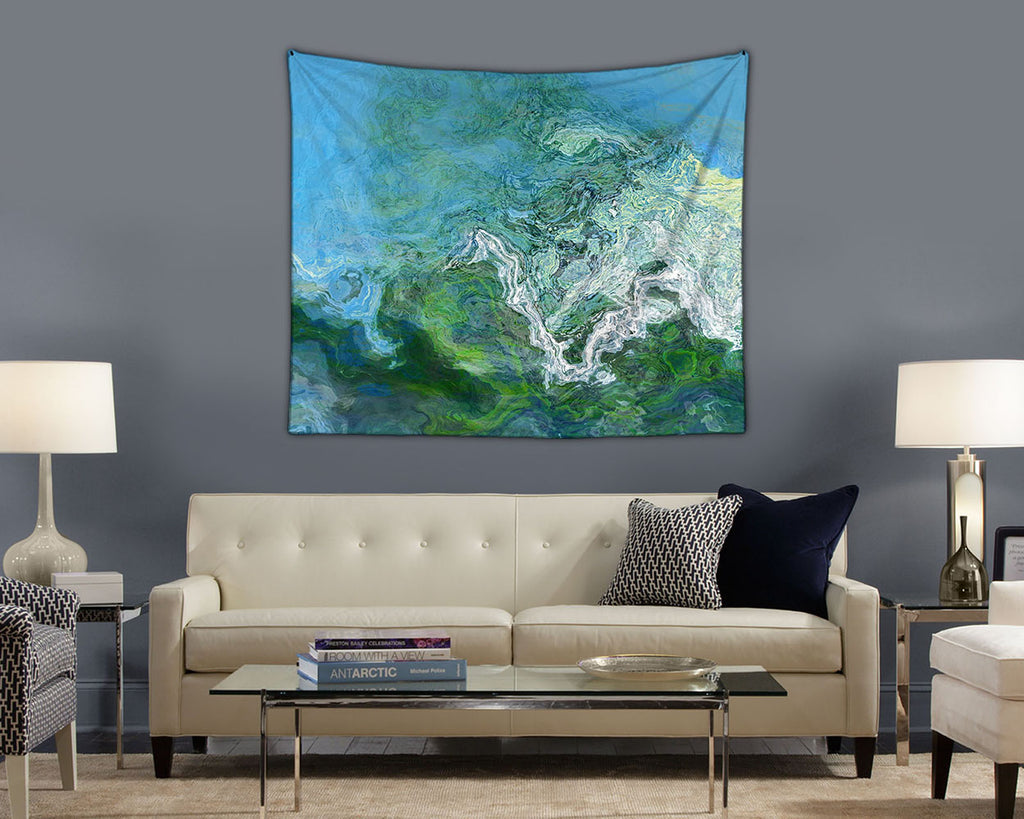 Abstract Art Tapestry, contemporary wall hanging in green and blue