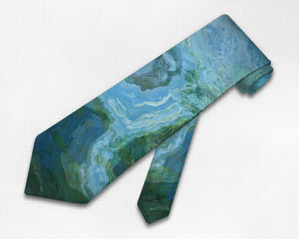 Abstract art men's tie in blue, green and white