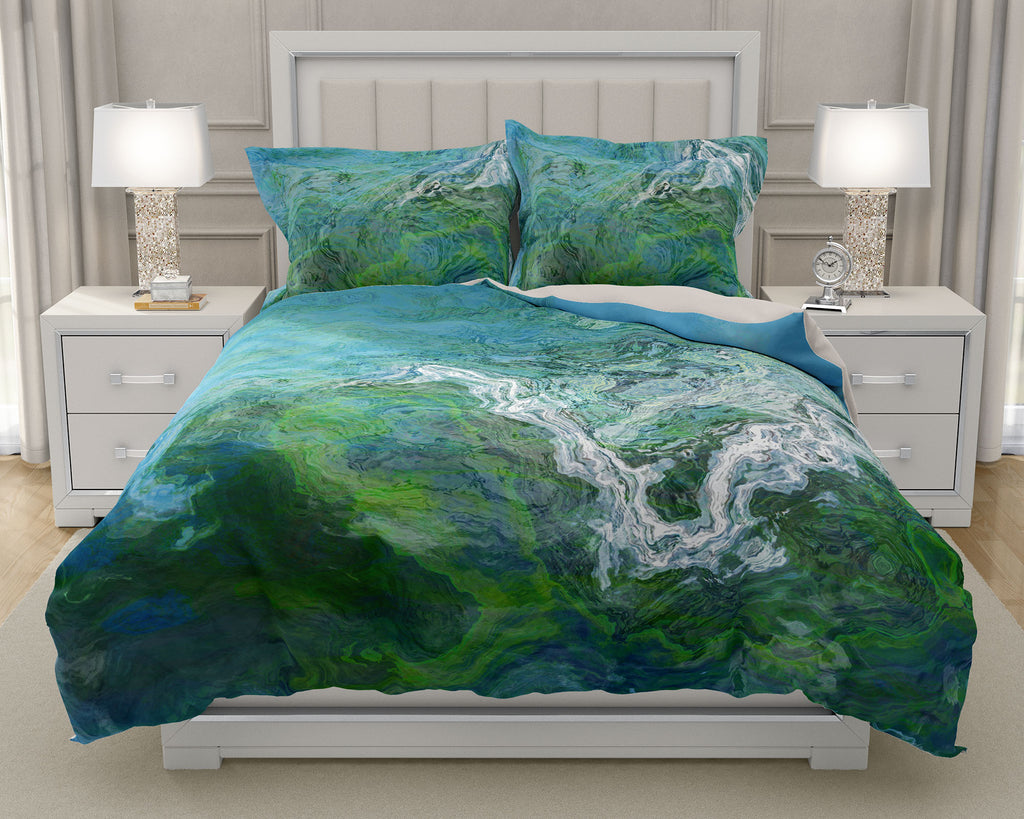 Duvet Cover with abstract art, king or queen in green and blue