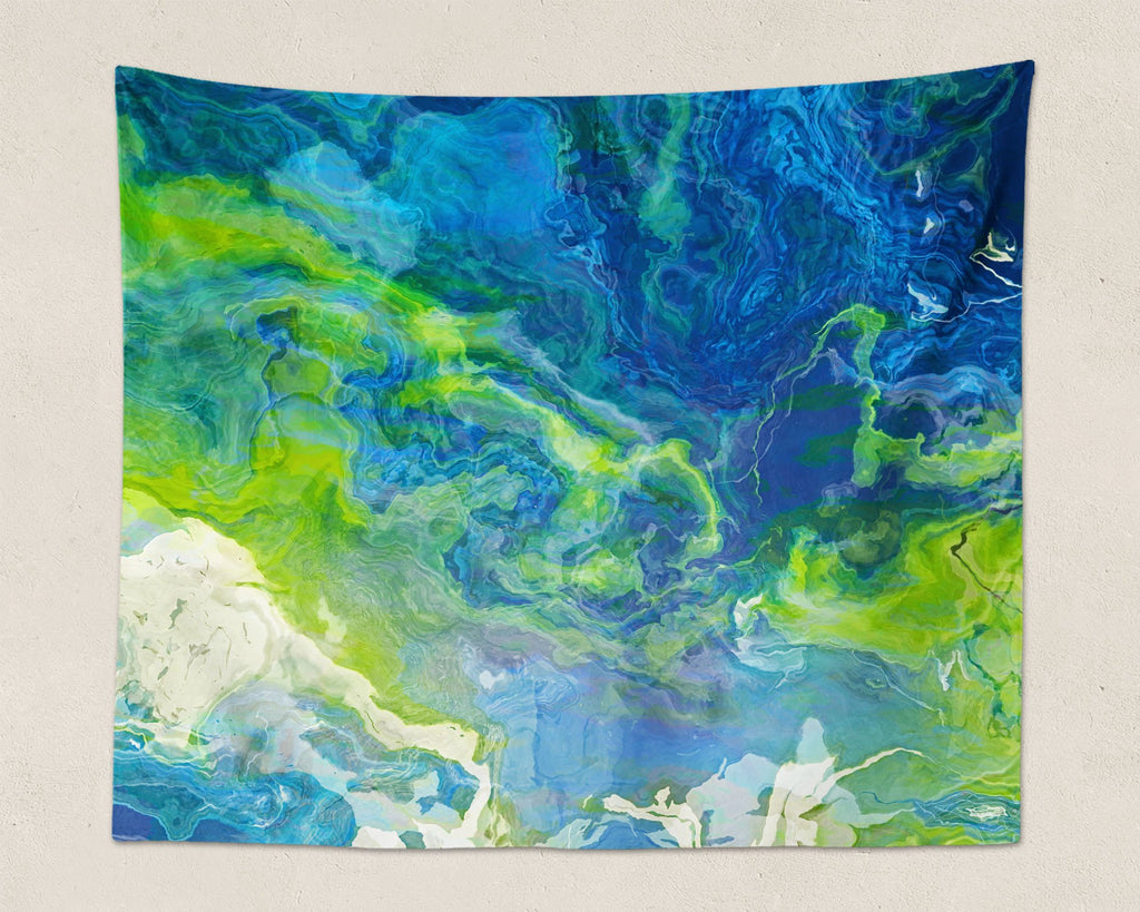 Abstract Art large modern wall hanging in blue, green and white