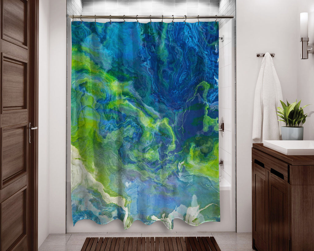 Abstract shower curtain blue, green and white contemporary bathroom