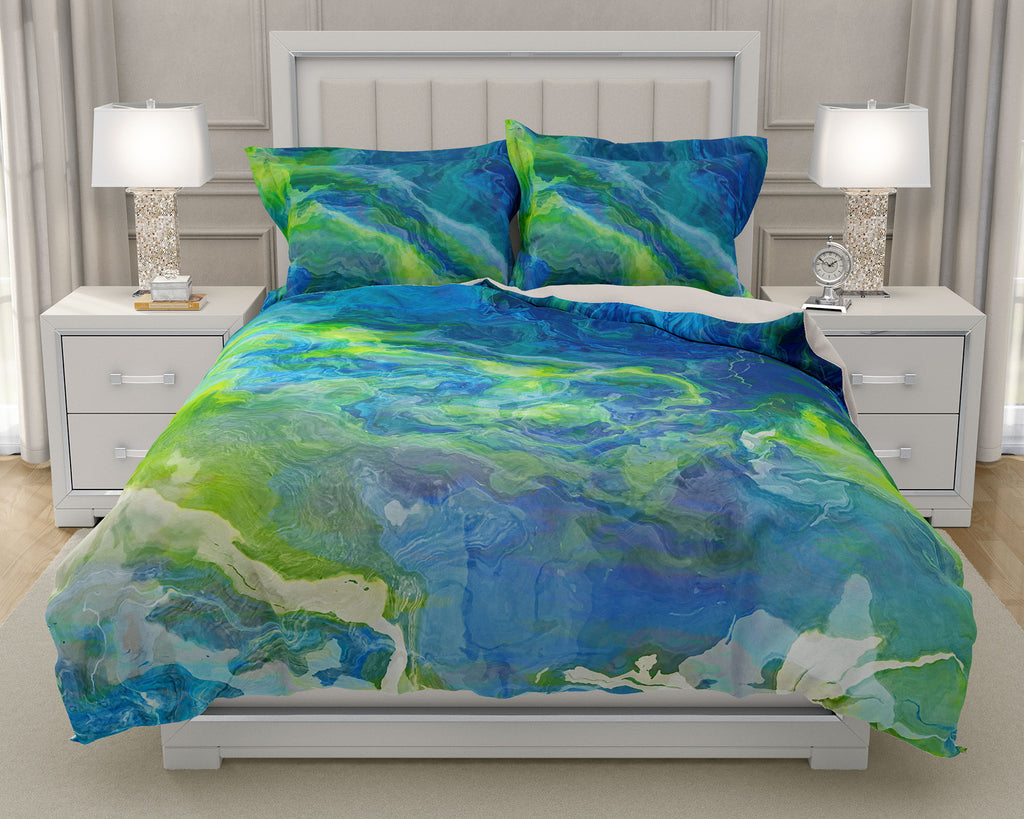 Duvet Cover with abstract art, king or queen in blue, green and white