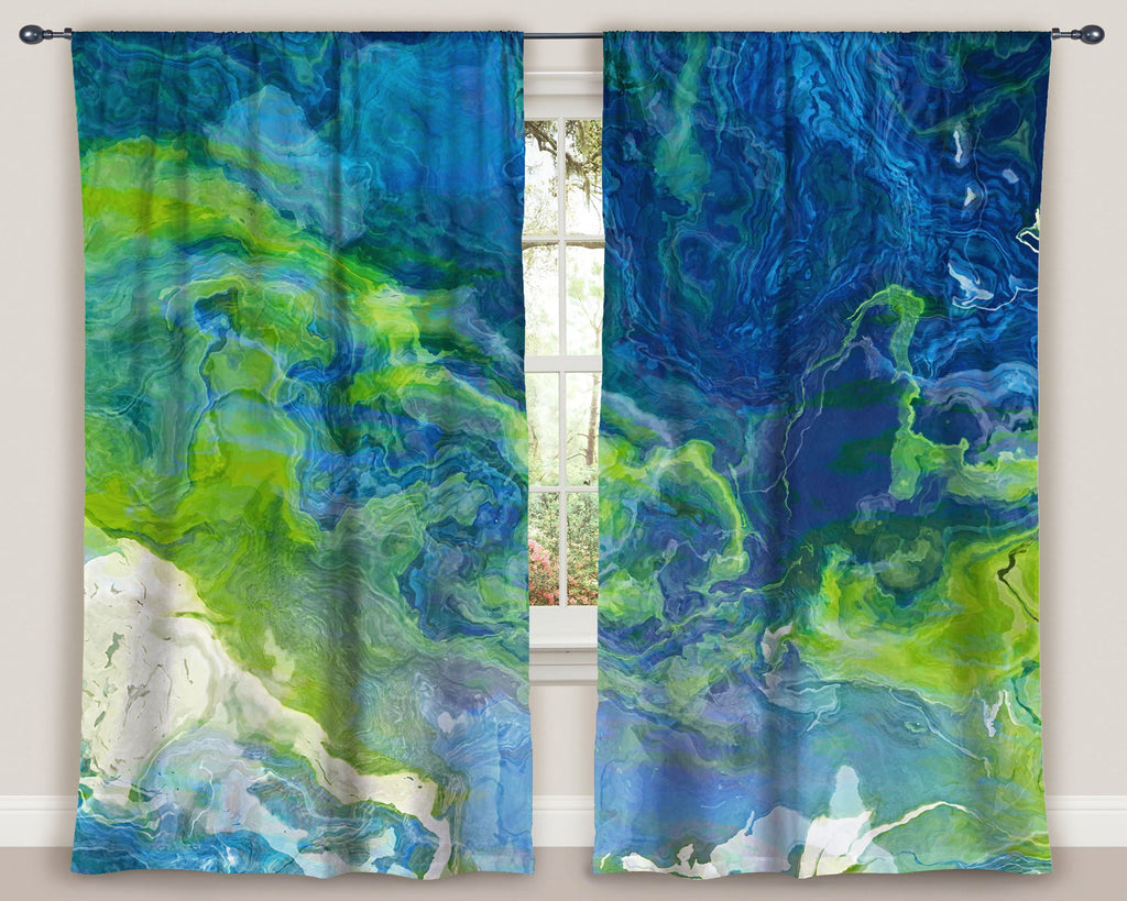 "Abstract art window curtains 50""x84"" panels in blue, green and white"