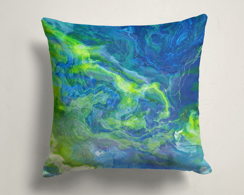 Abstract art pillow covers, 16x16 and 18x18 inches, blue, green, white
