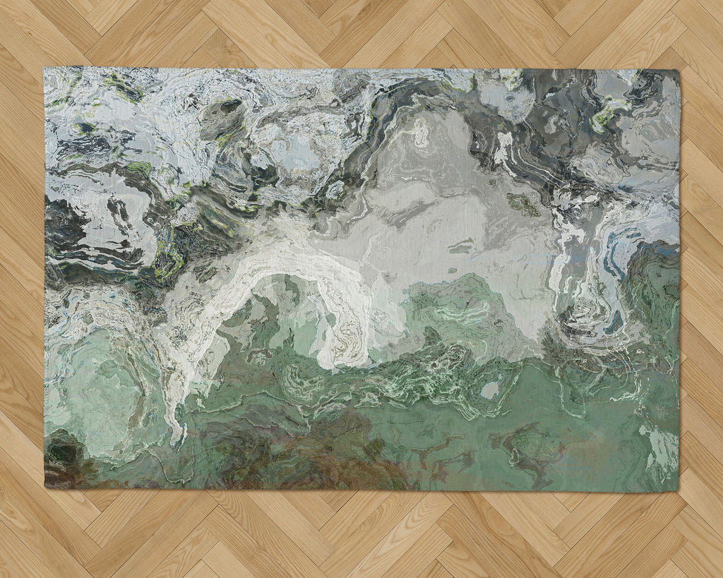 Area Rug with Abstract Art, 2x3 to 5x7, in Gray and Green