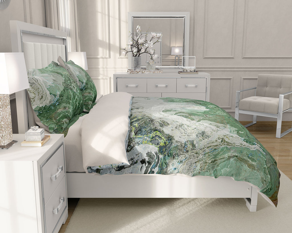 Duvet Cover with abstract art, king or queen in gray and green